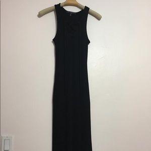 One clothing ribbed lace up maxi dress